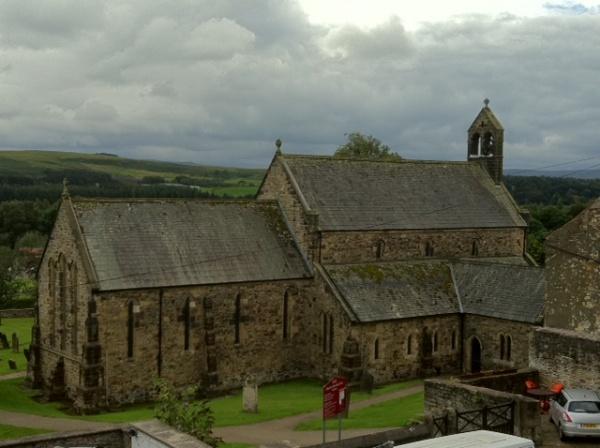 Church near Restaurant