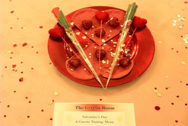 Place setting on Valentines Day