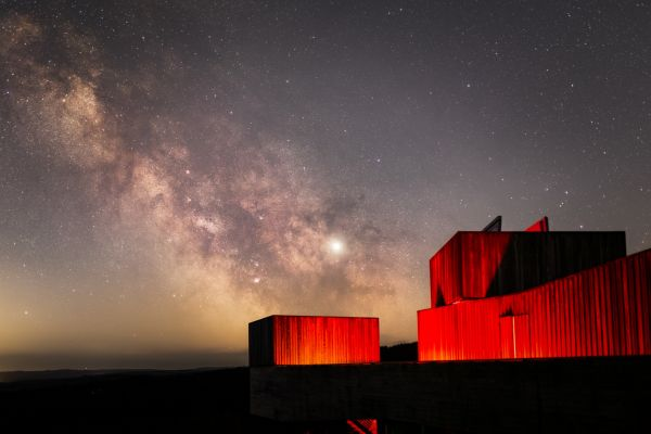Galactic centre rising above Kielder Observatory